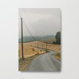 Road trip in France   Summer hay bales landscape photography  Travel wall art Metal Print