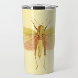 Vintage Inspired Pastel Yellow Salmon Butterfly Travel Mug