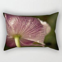 Purple Papaver Somniferum Poppy Raindrops II Rectangular Pillow