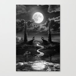 XVIII. The Moon Tarot Card Illustration Canvas Print