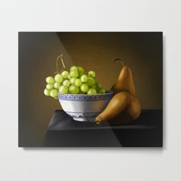 Pears and Grapes in a Bowl Metal Print