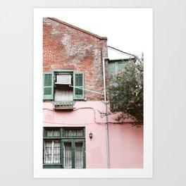 New Orleans Brick & Pink Wall Art Print