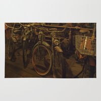 bicycles Area & Throw Rugs featuring Bicycles by Gurevich Fine Art