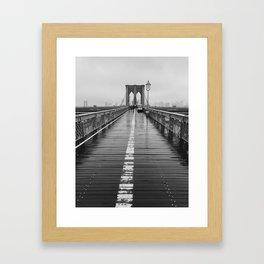 Black and White Brooklyn Bridge Framed Art Print