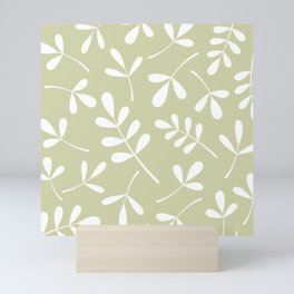 Assorted Leaf Silhouettes White on Lime Mini Art Print