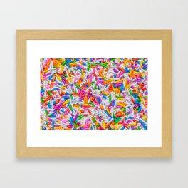 Dessert Rainbow Sprinkles Pattern Framed Art Print