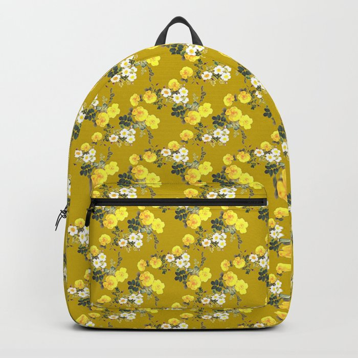 Mustard Floral Yellow Roses On Backpack