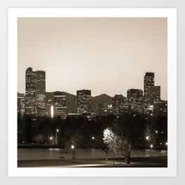 Denver Skyline and Rocky Mountains - Square Art Sepia Art Print