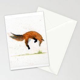 Jumping Jack Fox - animal watercolor painting Stationery Cards