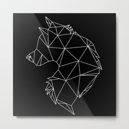 Geometric Wolf (White on Black) Metal Print