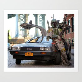 Mandalorian Delorean 2 - Bobba Fett, Bounty Hunter Art Print