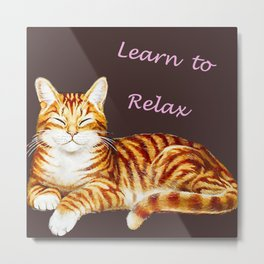Vintage Cat and Motivational Quote Metal Print