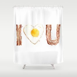 Bacon and Egg LOVE I Heart You Food Lovers Shower Curtain