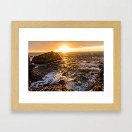 In Waves - Waves Crashing Into Rocks at Sunset In Big Sur Framed Art Print