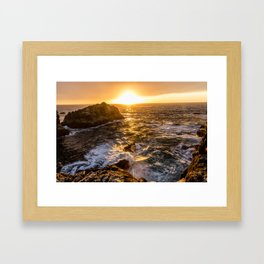 In Waves - Waves Crashing Into Rocks at Sunset In Big Sur Framed Art Print