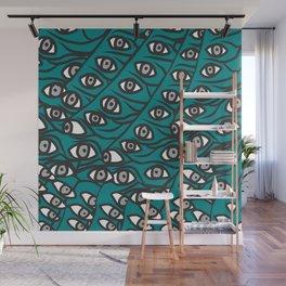 Freddie Eyeballs Teal Aqua Blue Wall Mural