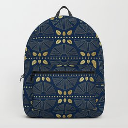 Navy & Gold Art Deco Fans Backpack