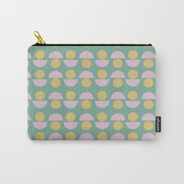 Scandinavian Geometric Pattern in Green, Lavender and Yellow Carry-All Pouch