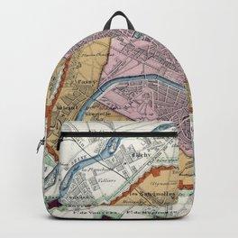 Vintage Map of Paris Fortifications (1841) Backpack