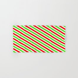 Fun Christmas-Inspired Red, White & Green Colored Lined Pattern Hand & Bath Towel