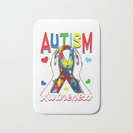 Colorful Autism Awareness Day Puzzle Ribbon Bath Mat