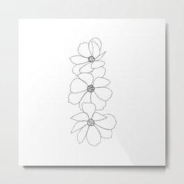 Camellia flowers illustration - Florette Metal Print
