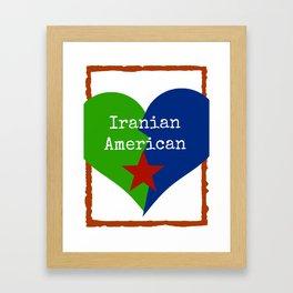 Iranian American Heart Star Framed Art Print