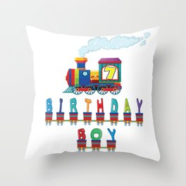 7th Birthday Boy Train 7 Years Old Kid Railway B-day Party graphic Throw Pillow