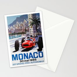 Grand Prix Monaco, 1965, vintage poster, race poster Stationery Cards