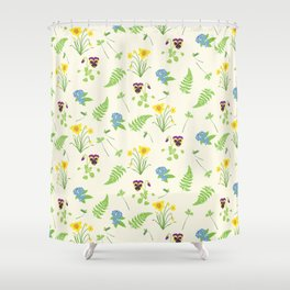 Spring Flowers and Ferns Illustrated Pattern Print Shower Curtain