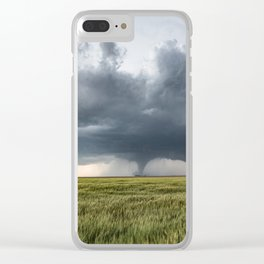 High Risk - Wide Angle View of Tornado in Kansas Clear iPhone Case