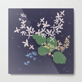 Flowers And Starry Sky Metal Print