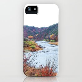 Scenic Fall Nature Lanscape with Stream and Hills iPhone Case