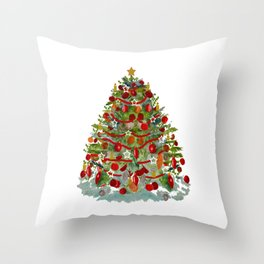 A Decorated Christmas Tree Throw Pillow