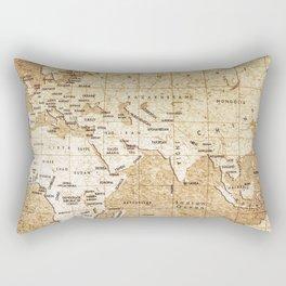 Vintage Map Pattern Rectangular Pillow