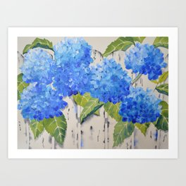 Picket Fence Hydrangeas Art Print