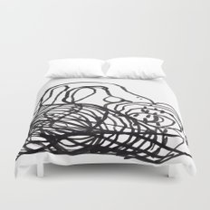 Paint 2 abstract black and white minimal brushstroke japanese modern home decor dorm college  Duvet Cover