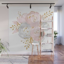 Roses Gold Glitter Pink by Nature Magick Wall Mural