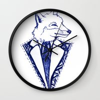 mr fox Wall Clocks featuring MR. FOX by Sagara Hirsch
