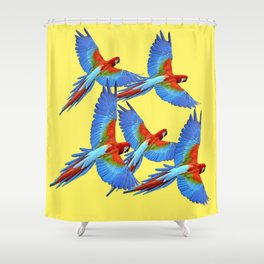 FLOCK OF BLUE MACAWS ON YELLOW Shower Curtain