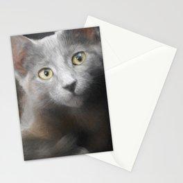 Russian Blue Kitten Portrait 3 Stationery Cards