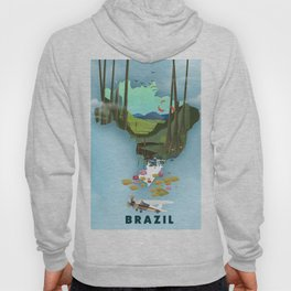 Brazil Map vacation poster. Hoody