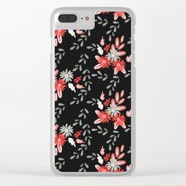 Red and Gray Daisy Florals Clear iPhone Case