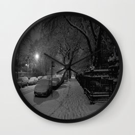 Chicago in Snow: A Study in White and Black #1 (Chicago Winter Collection) Wall Clock