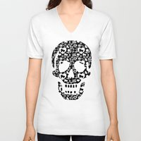 roller derby V-neck T-shirts featuring Roller derby Skull Print by Mean Streak