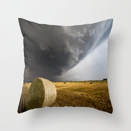 Spinning Gold - Storm Over Hay Bales in Kansas Field Throw Pillow