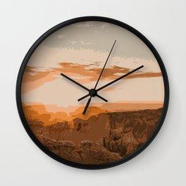 Badlands Sunset Wall Clock