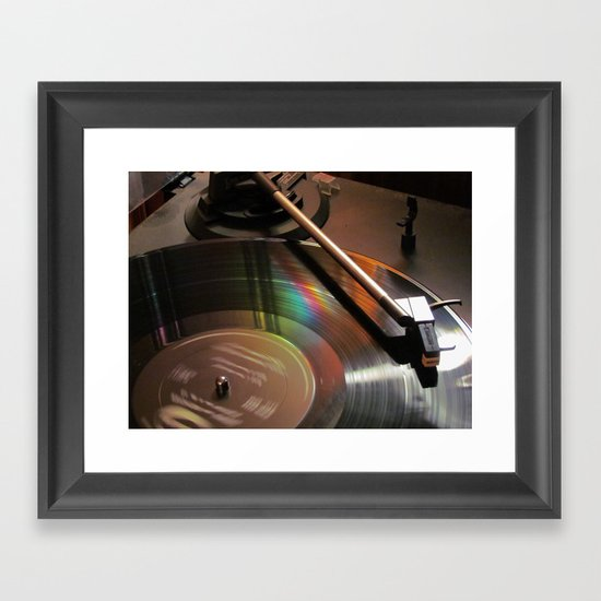 Vinyl Rainbow Framed Art Print