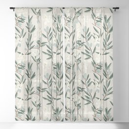 OLIVE BLOOM Sheer Curtain