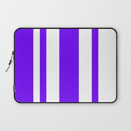Mixed Vertical Stripes - White and Indigo Violet Laptop Sleeve